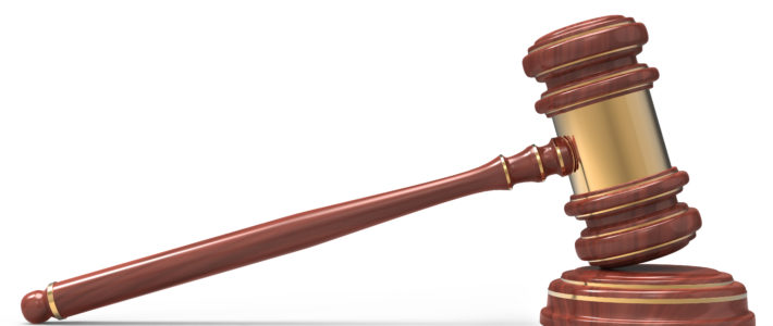 wooden Judge gavel isolated on white background with clipping path.